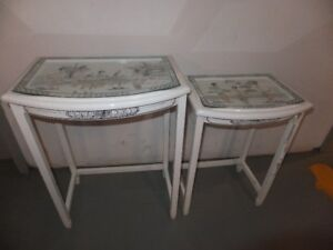 FOR SALE 2 White End Tables with Chinese design covered by glass