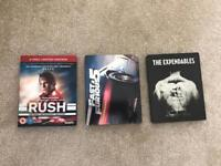 Rush (Limited edition Box set), Fast And Furious 5 (Steel Box Edition) And The Expendables Steel)