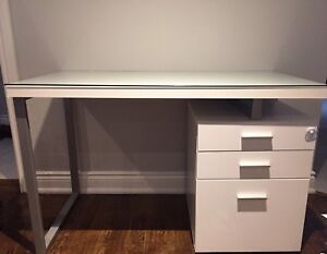 Desk with custom made glass top