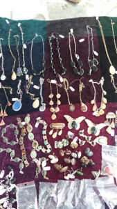 A Variety of Semi-precious stones on pendants, brooches.etc