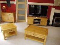 Solid oak furniture - 1 large 1 small coffee table, small sideboard and TV unit £200