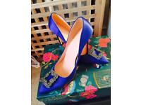 Blue Manolo Blahnik Style Shoes Size 5/6 Wedding / Occasion wear