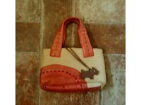 RADLEY HANDBAG PINK LEATHER AND NATURAL CANVAS WITH DOG TAG EXCELLENT CONDITION £20 ono