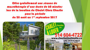 Bord lac Mégantic + embarcations + massage 60 minutes