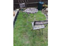 Small garden table and 2 chairs shabby chic