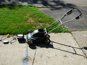 Yardworks Battery Powered 14 inch wide 24 volt Bagless Lawnmower