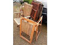 8 wooden garden chairs for restoring