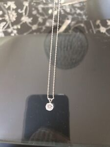 cubic zirconia and white gold necklace