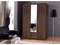 ====BROWN AND WHITE==== BRAND NEW HIGH QUALITY 3 DOOR OSAKA WARDROBE IN WHITE AND WALNUT WITH MIRROR