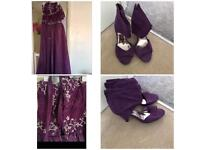 Purple sequin dress and purple suede shoes
