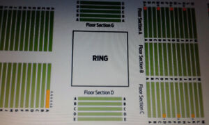 AMAZING WWE LIVE 3RD ROW RINGSIDE FLOOR SEATS !!!