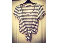 Grey & White stripy vest top - Size 12