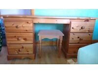 Solid pine dressing table with stool.