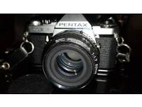 Pentax ME Super 35mm SLR Camera and Flash