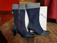 Vivaldi blue denim boots