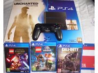 Sony PlayStation 4 500 GB Console (Black) Boxed with 4 games.