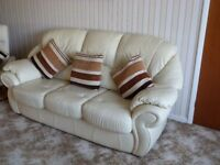 Leather 3 piece suite with pouffe, light cream, excellent condition.