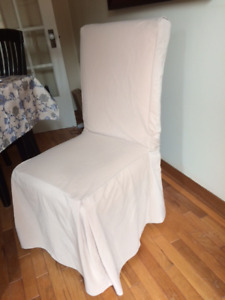 Chair covers with ties... taupe... six.  (Fabric is microfiber!)
