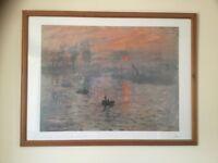 Claude Monet print in pine frame
