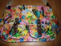 SwankySwans Girl's Maple Butterfly Print Satchel Yellow