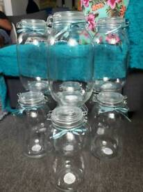 10 x decorative jars with teal ribbon trim