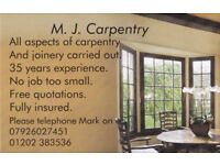Qualified carpenter available,friendly, free quotations, prompt service.fully insured