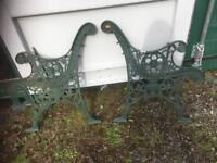 VINTAGE CAST IRON BENCH ENDS WITH LION DETAIL - CAN DELIVER
