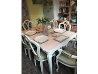 Stunning Solid Oak Shabby Chic French Style Table and 6 Chairs-Farrow and Ball