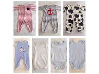 Baby boy clothes 0-3 months bundle, babygrows, vests