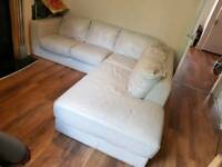 L shape white leather sofa