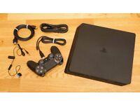 Playstation 4 slim (Black) 1TB, pad, wires and box
