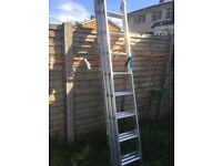 3 stage metal Werner ladder, very large, approxately 7 metre open reach
