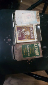 Antique Old cigarette & zig zag containers