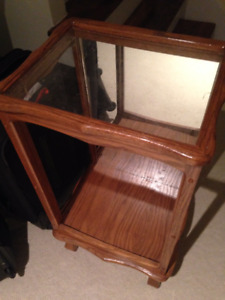 Mirrored Solid Oak Table with Glass Top $30 Excellent Condition