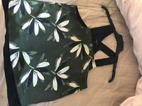 River island green and cream top