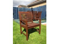 Hardwood garden table and eight chairs