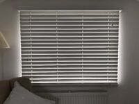 Venetian Blind. White faux wood size 79cm wide 100cm drop.