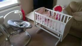 Baby swing and crib