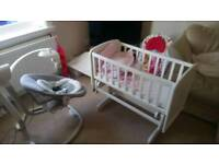 Baby swing and crib