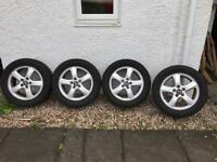 "Saab 95 16"" Alloy wheels, almost brand new - with almost brand new tyres"
