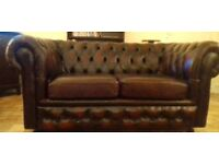 Stunning oxblood leather chesterfield sofa