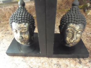 Buddha Head Book Ends! Delightful Solid Attractive Pair For Sale