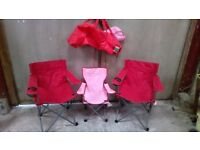 2 x camping, garden folding chairs with carry bags