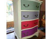Bow fronted painted small chest of drawers /bedside cabinet