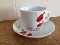 set of 5 poppy design cups and saucers