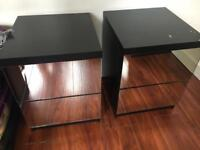RELISTED 2 Mirror and Black Bedside Tables