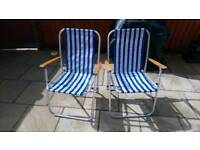 PAIR OF RETRO BLUE + WHITE STRIPE FOLDING DECK CHAIRS