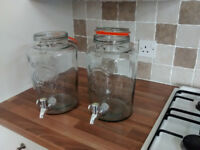 x2 5Litre KILNER JAR DRINKS DISPENSERS (as new)