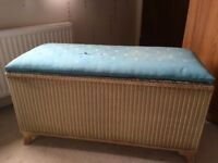 Vintage ottoman, cream woven effect with blue material lid which need re attached.