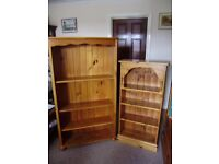 Bookshelf, two, solid pine, excellent quality, one is new